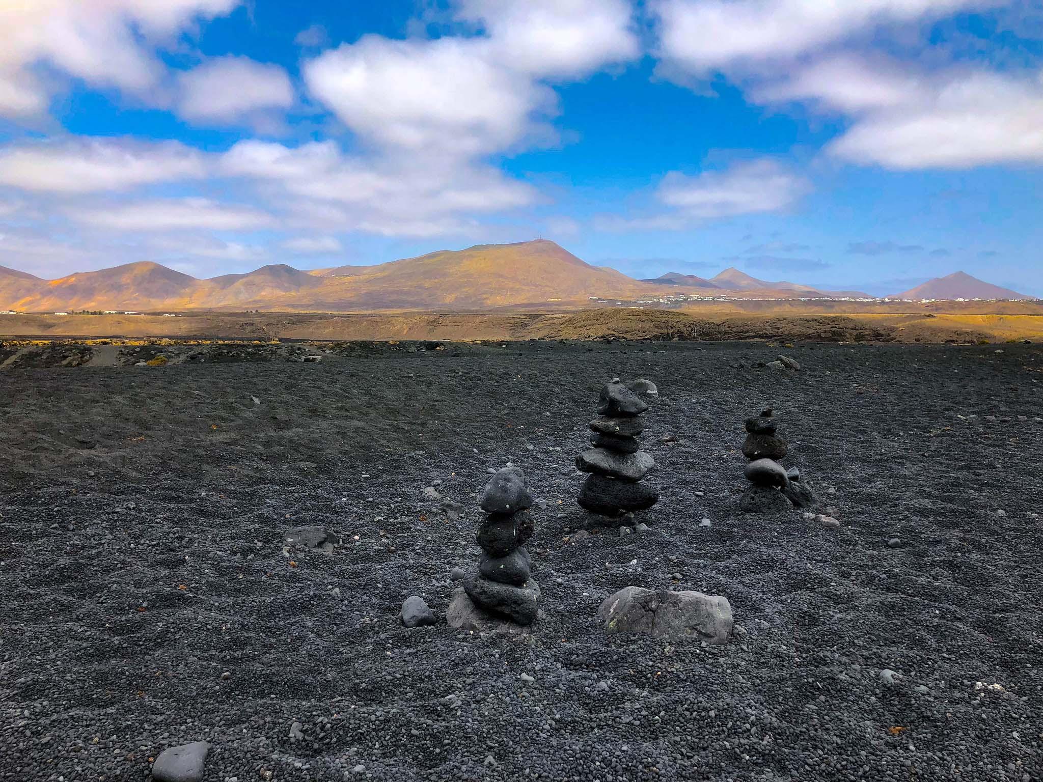 volcanic beach black rocks lanzarote