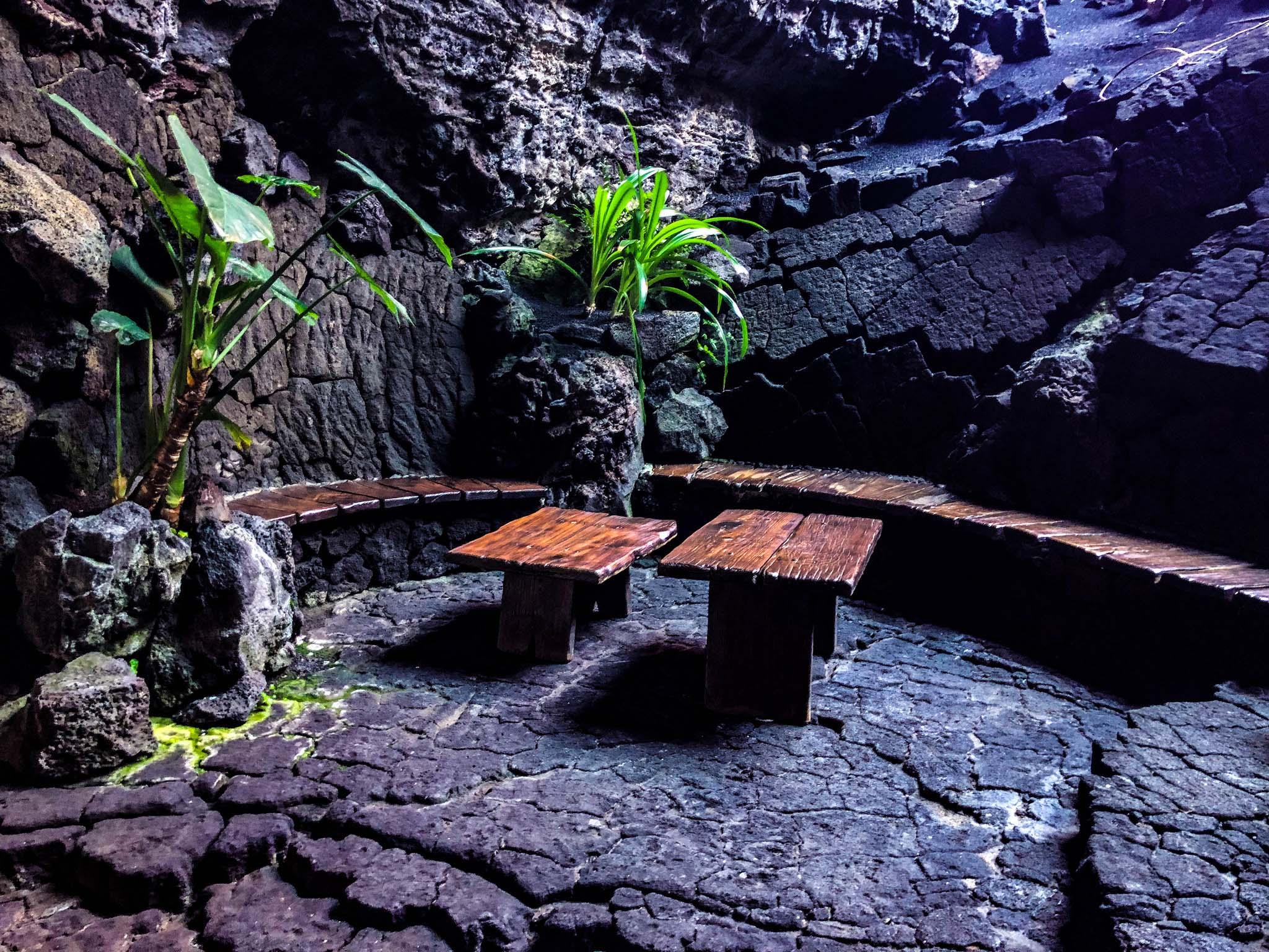 volcanic bench in los jameos del agua